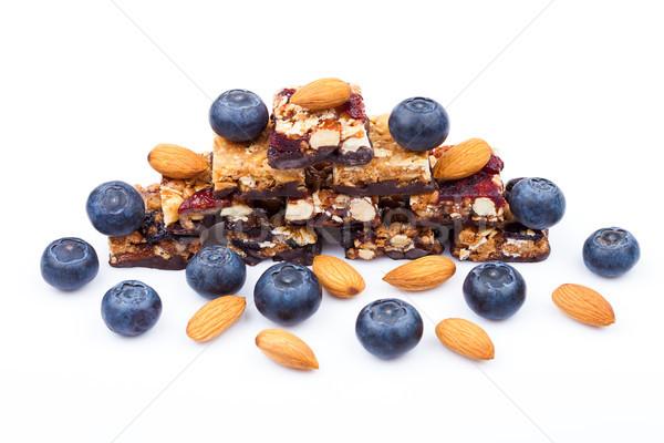 Stok fotoğraf: Sağlıklı · tahıl · bar · yaban · mersini · beyaz