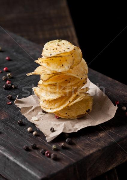 Crispy delicious pepper potato crisps chips snack Stock photo © DenisMArt