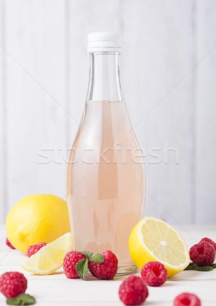 Garrafa frio framboesa soda beber limão Foto stock © DenisMArt
