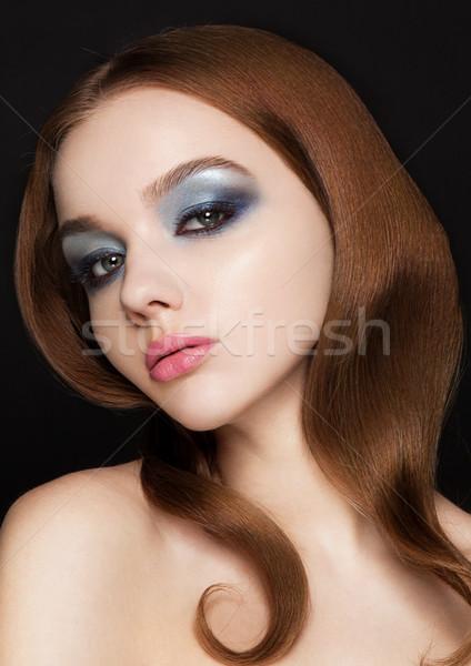 Piękna różowe usta makijaż moda model Zdjęcia stock © DenisMArt