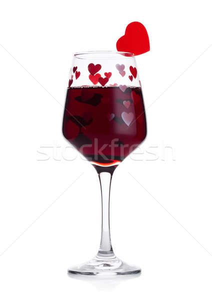 Photo stock: Verre · vin · rouge · rouge · rose · forme · de · coeur · saint · valentin