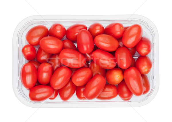 Plastic tray with fresh red grape tomatoes Stock photo © DenisMArt