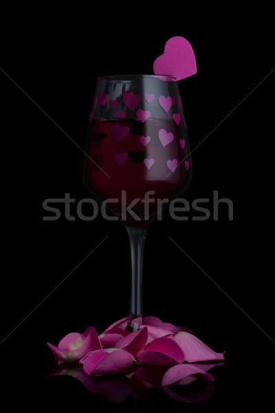 стекла красный розовый формы сердца Сток-фото © DenisMArt
