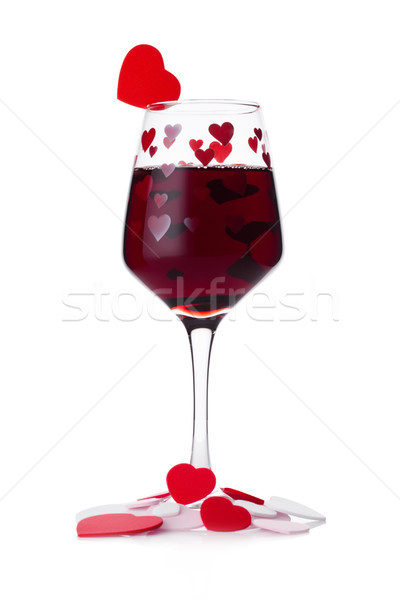 Stockfoto: Glas · rode · wijn · Rood · roze · hartvorm · valentijnsdag