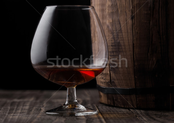 Verre cognac brandy boire bois baril Photo stock © DenisMArt