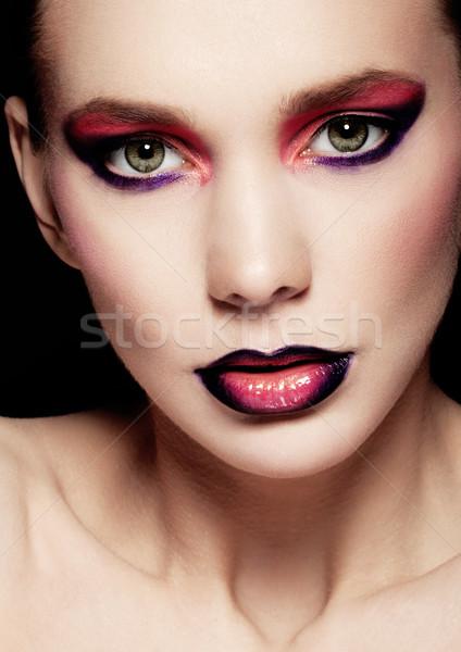 Сток-фото: красивая · женщина · красоту · Creative · макияж · моде · черный