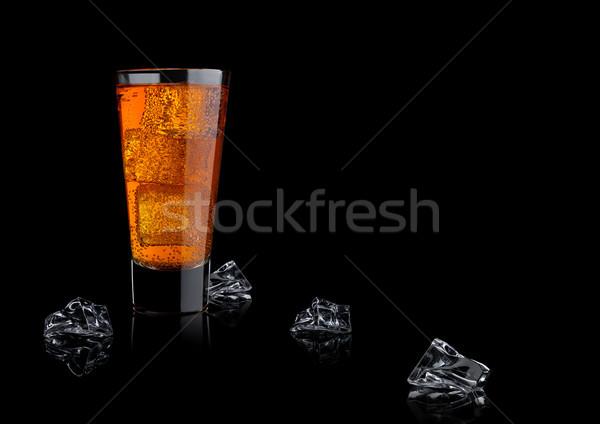 オレンジ エネルギー ソーダ ドリンク ガラス アイスキューブ ストックフォト © DenisMArt