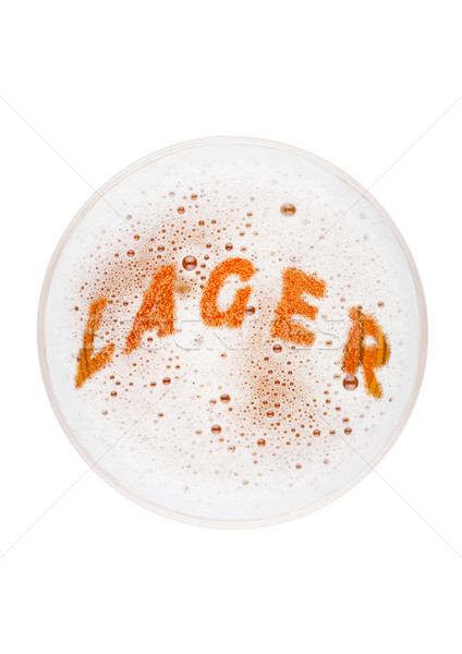 Glass of lager ale beer top with lager letters Stock photo © DenisMArt