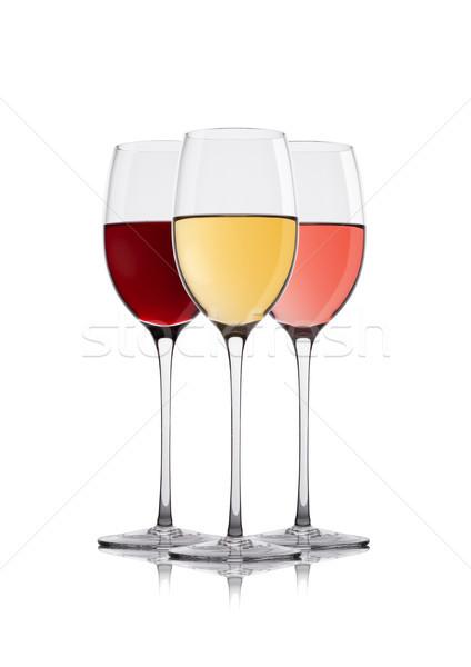 Gafas blanco rojo vino elegante Foto stock © DenisMArt