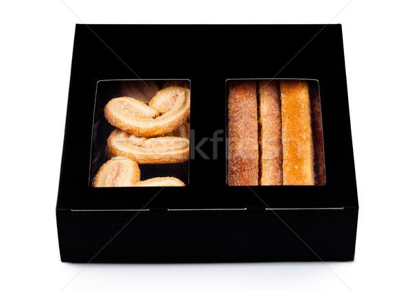 Caixa doce manteiga café da manhã bolinhos branco Foto stock © DenisMArt