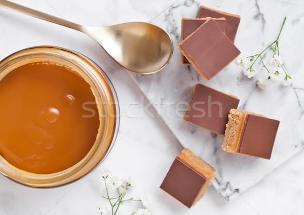 Caramel and biscuit shortcake bites dessert Stock photo © DenisMArt