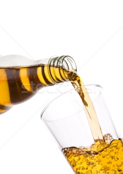 Frescos zumo de manzana botella vidrio blanco Foto stock © DenisMArt