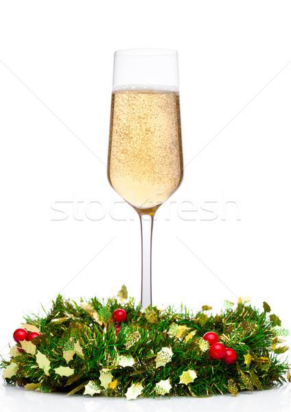 Pezsgő üveg karácsony dekoráció fehér fa Stock fotó © DenisMArt