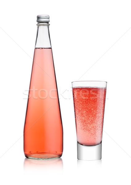 Foto d'archivio: Bottiglia · vetro · frizzante · rosa · soda · limonata