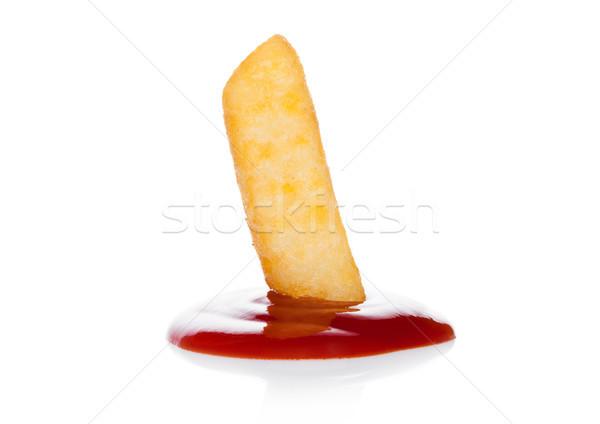 Aardappel macro ketchup witte Stockfoto © DenisMArt