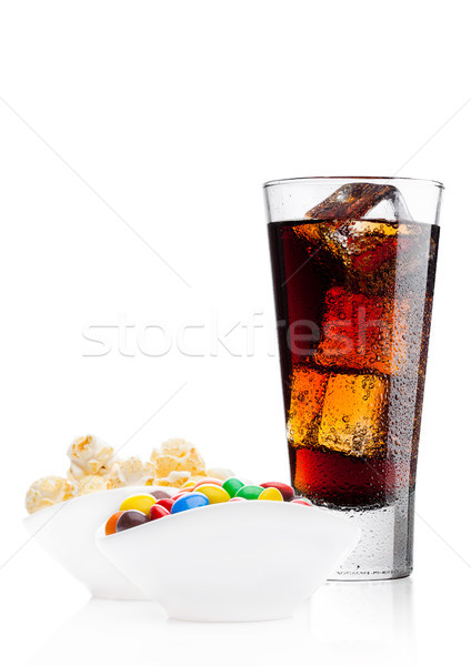 Round  coated sweet candies with cola and popcorn Stock photo © DenisMArt