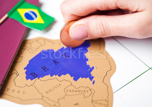 Travel holiday to Brazil concept with passport Stock photo © DenisMArt