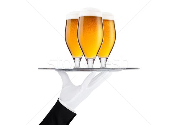 El eldiven tepsi alman birası bira cam Stok fotoğraf © DenisMArt