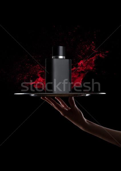 Strony taca czarny butelki perfum farby Zdjęcia stock © DenisMArt