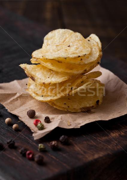 Ropogós finom bors krumpli sültkrumpli falatozó Stock fotó © DenisMArt
