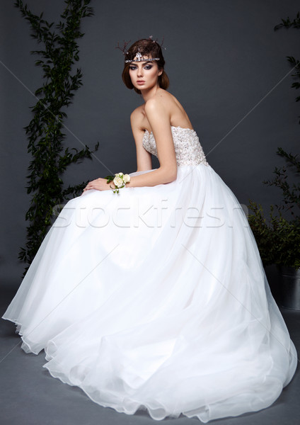 小さな 花嫁 女性 ウェディングドレス グレー スタジオ ストックフォト © DenisMArt