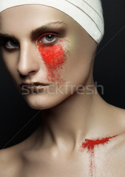 Beauty girl bandage plastic surgery red make up Stock photo © DenisMArt