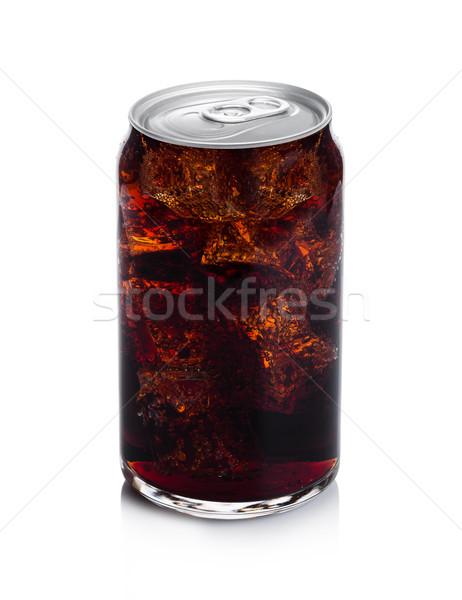Glass of cold cola soda drink aluminium tin top Stock photo © DenisMArt