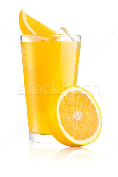 Szemüveg narancs üdítő ital jégkockák narancsszelet Stock fotó © DenisMArt
