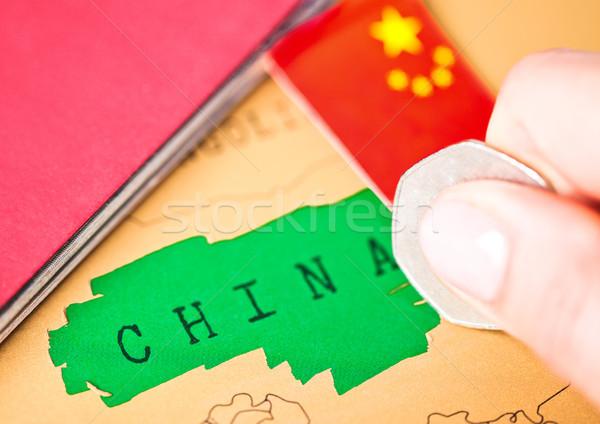 Viaje vacaciones China pasaporte bandera femenino Foto stock © DenisMArt