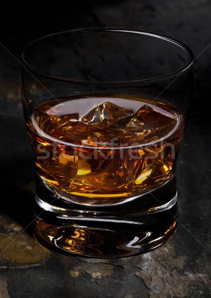 Elegancki szkła whisky kamień tle Zdjęcia stock © DenisMArt