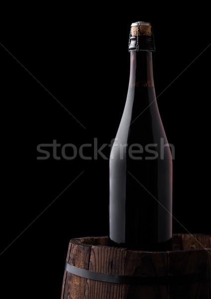 Hideg üveg sör öreg fából készült hordó Stock fotó © DenisMArt