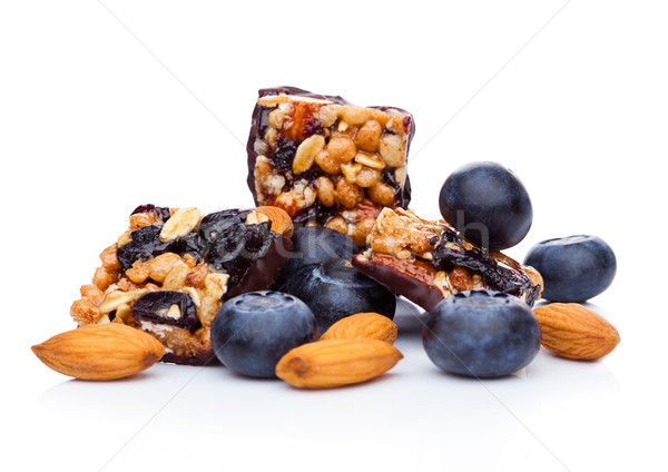 Healthy cereal bar with almonds and blueberries  Stock photo © DenisMArt