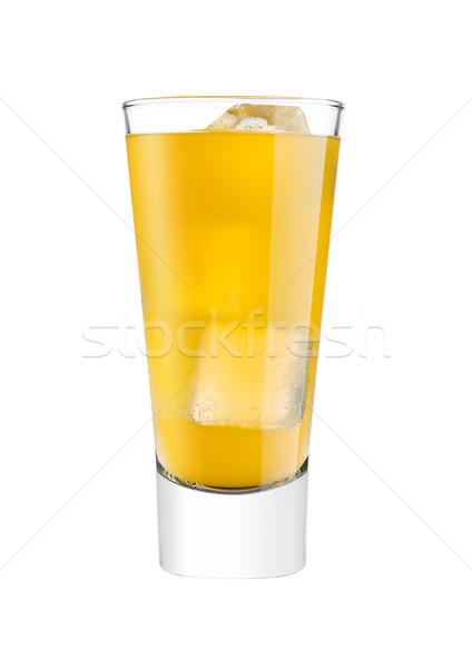 Foto stock: Gafas · naranja · sosa · beber · blanco