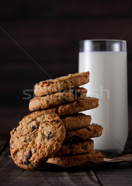 Gluten free oatmeal chocolate cookies with milk Stock photo © DenisMArt