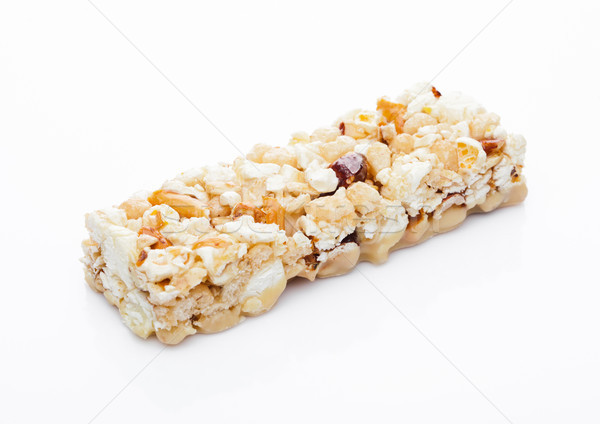 Popcorn protein cereal energy bar with nuts Stock photo © DenisMArt