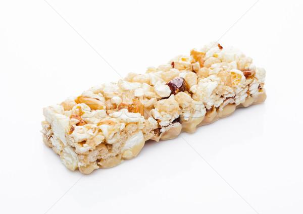 Popcorn eiwit granen energie bar noten Stockfoto © DenisMArt