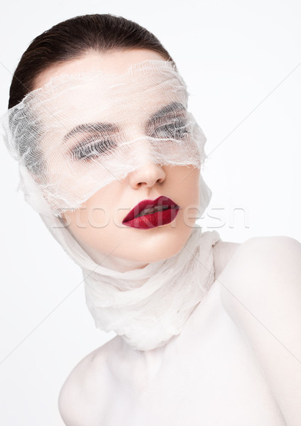 Beauty makeup plastic surgery white bandage model Stock photo © DenisMArt