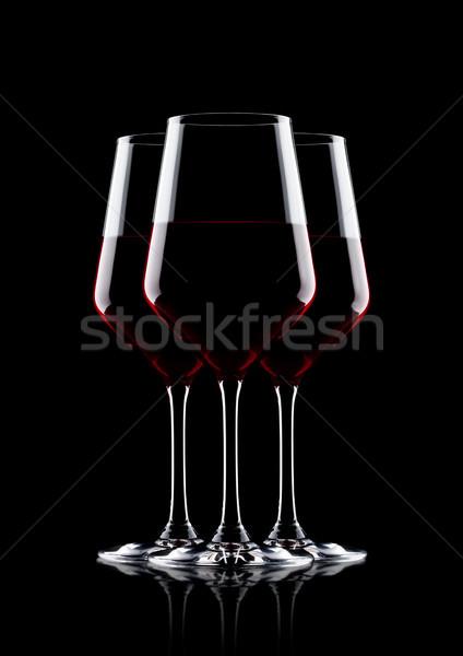 óculos vinho tinto preto reflexão comida vidro Foto stock © DenisMArt