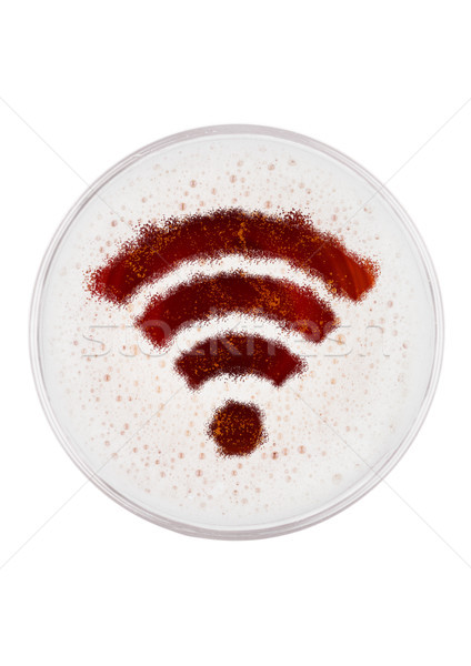 Glas Rood ale bier top wifi Stockfoto © DenisMArt