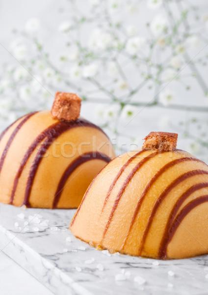 Luxury restaurant caramel dessert on marble Stock photo © DenisMArt