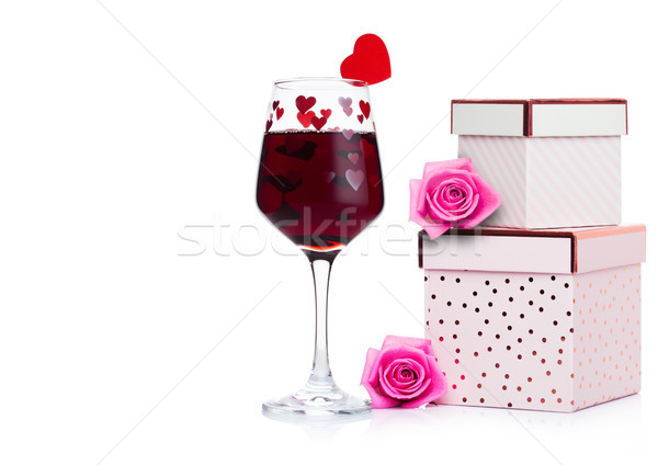 Stockfoto: Glas · rode · wijn · hart · roze · geschenkdoos · steeg