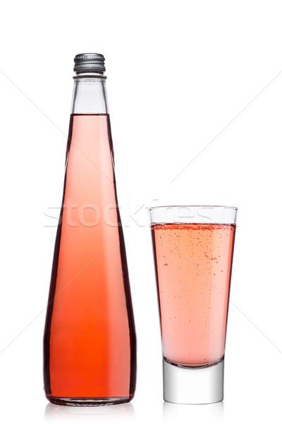 Fles glas roze soda limonade Stockfoto © DenisMArt