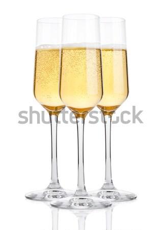 Champán gafas burbujas blanco reflexión vino Foto stock © DenisMArt