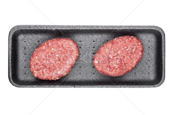 Raw fresh beef venison steak in plastic tray  Stock photo © DenisMArt