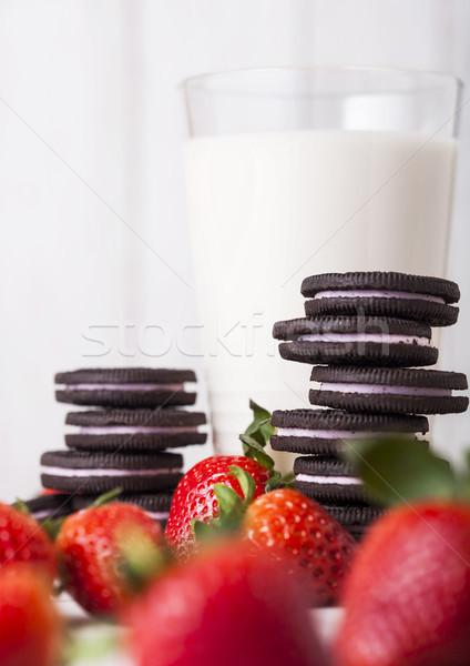 Eper sötét sütik üveg gyümölcs tej Stock fotó © DenisMArt