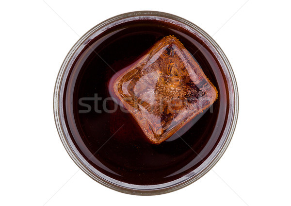 Cola soda drink with ice cube top view Stock photo © DenisMArt