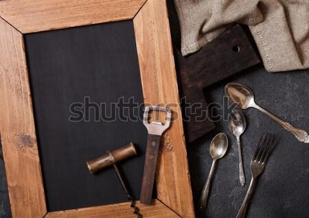 ヴィンテージ 木製 まな板 タオル ナイフ 先頭 ストックフォト © DenisMArt