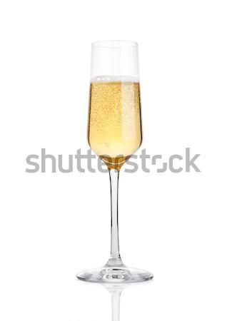 Elegante vidro amarelo champanhe bubbles branco Foto stock © DenisMArt