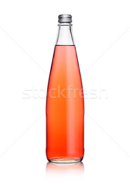 Glas fles roze soda limonade Stockfoto © DenisMArt