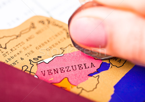 Utazás ünnep Venezuela útlevél zászló női Stock fotó © DenisMArt